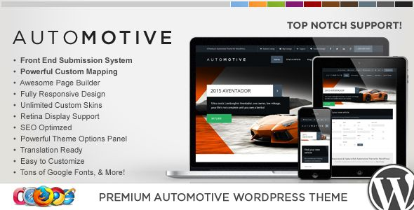 WP Pro Automotive Responsive WordPress Theme by Contempoinc is a niche WordPress theme with frontend submission functionality which features Retina display support, fully responsive layouts, search engine optimization, Google Fonts support, Revolution Slider and clean design.