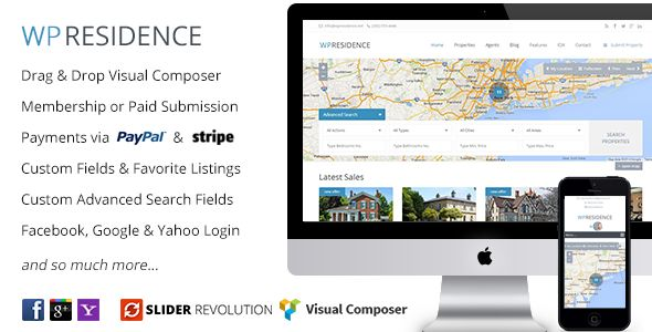 WP Residence by Annapx is a niche WordPress theme with frontend submission functionality which features Retina display support, support for RTL languages, fully responsive layouts, search engine optimization, Google Fonts support, Revolution Slider, clean design, Bootstrap framework utilization and a grid layout.