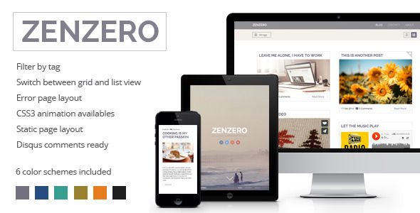 Zenzero by Muvolab is a Ghost theme which features Retina display support, one page layouts, fully responsive layouts, search engine optimization, clean design, support for photo galleries and  a grid layout.