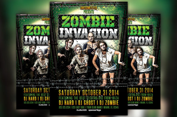 Zombie Invasion Halloween Flyer by Flyermind is available from CreativeMarket for $6.