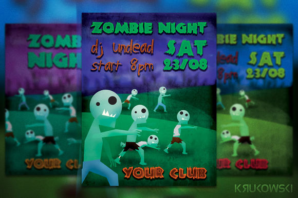 Zombie Night Flyer by Krukowski is available from CreativeMarket for $6.
