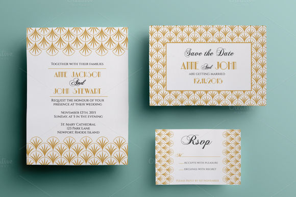 Art Deco Wedding Suite by Annago is available from CreativeMarket for $11.
