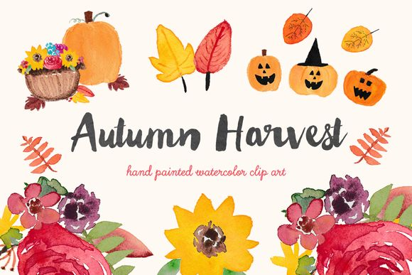 Autumn Harvest Watercolor Clip Art by BellaLoveLetters is available from CreativeMarket for $5.