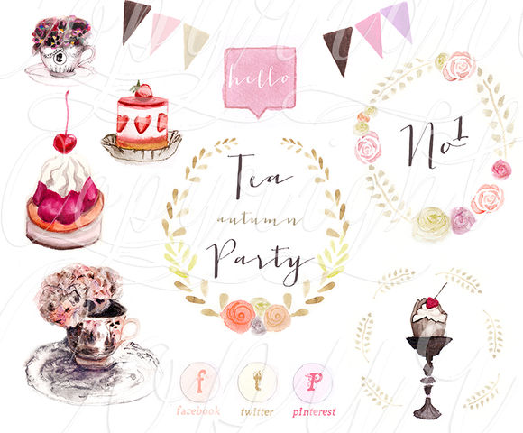 Autumn Tea Party Watercolours by HalftoneStudio is available from CreativeMarket for $8.