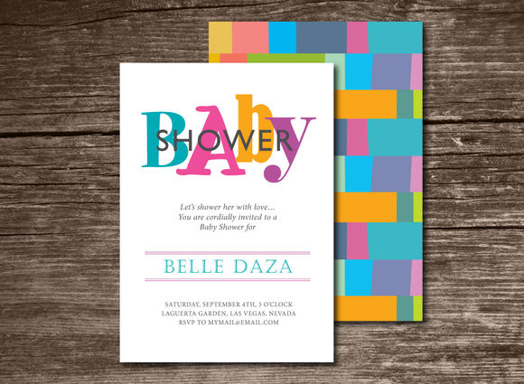 Baby Shower Invitation Chevron by Aticnomar is available from CreativeMarket for $6.