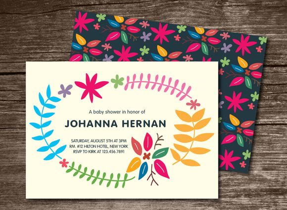 Baby Shower Invitation Leaves by Aticnomar is available from CreativeMarket for $6.