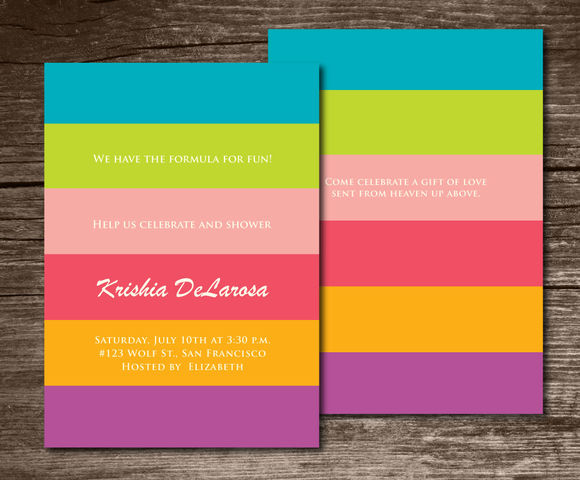 Baby Shower Invitation Stripes by Aticnomar is available from CreativeMarket for $6.