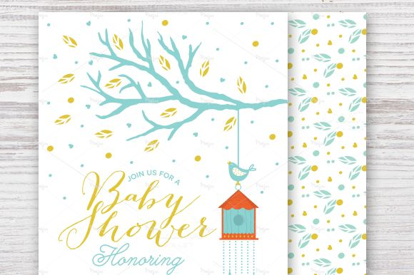 Baby Shower Invitation With Tree by Pixejoo is available from CreativeMarket for $8.