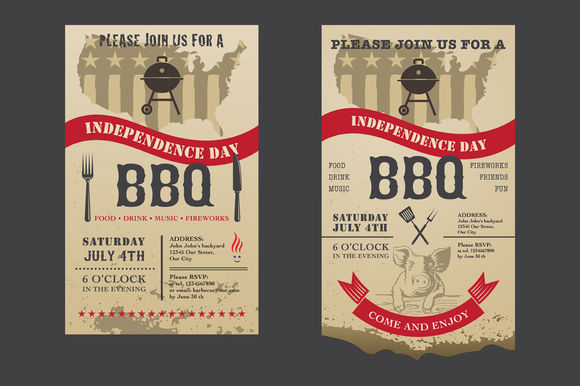 Barbecue Invitation Independence Day by Valeri_si is available from CreativeMarket for $4.