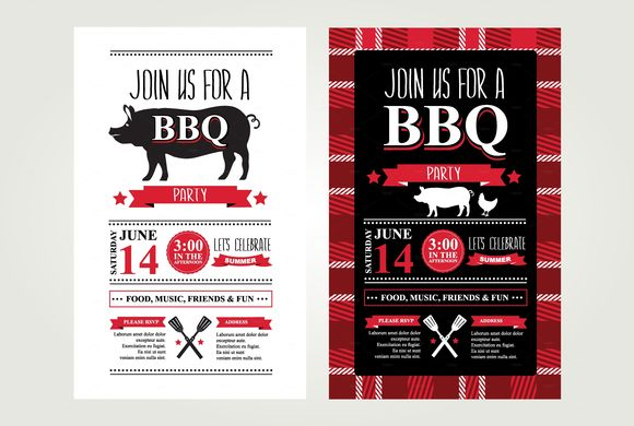 Barbecue Invitations by BarcelonaDesignShop is available from CreativeMarket for $6.