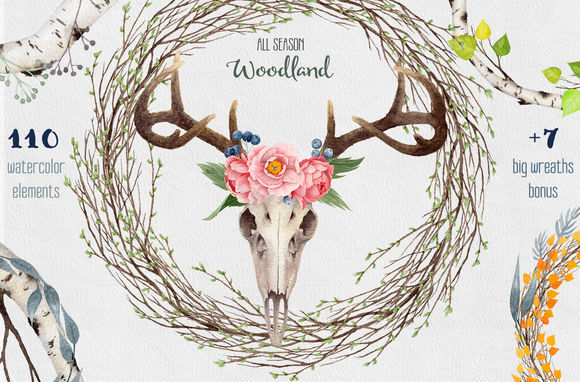 Big Watercolor Collection Woodland by WatercolorNomads is available from CreativeMarket for $27.