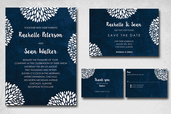 Blue Flowery Wedding Invite by Kreativepencils is available from CreativeMarket for $11.