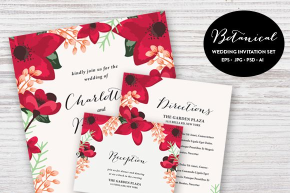 Botanical Wedding Set ESP And PSD by Pixejoo is available from CreativeMarket for $13.