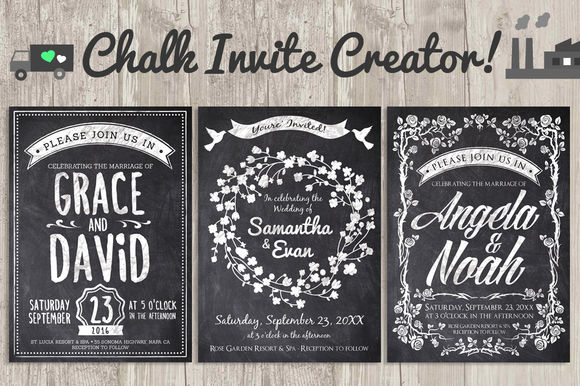 Chalk Invite Creator Bundle by LucionCreative is available from CreativeMarket for $19.