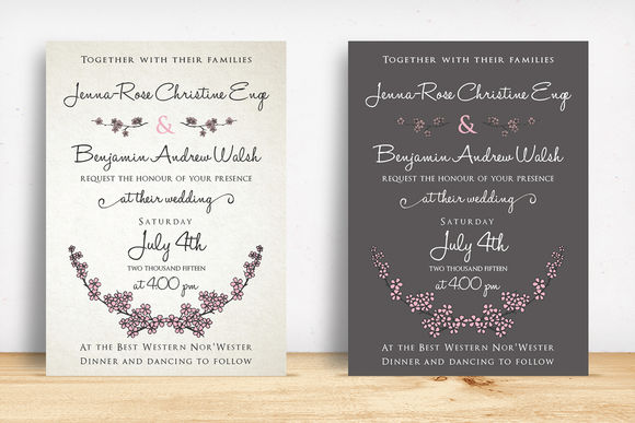 Cherry Blossom Wedding Suite by KnottedDesign is available from CreativeMarket for $20.