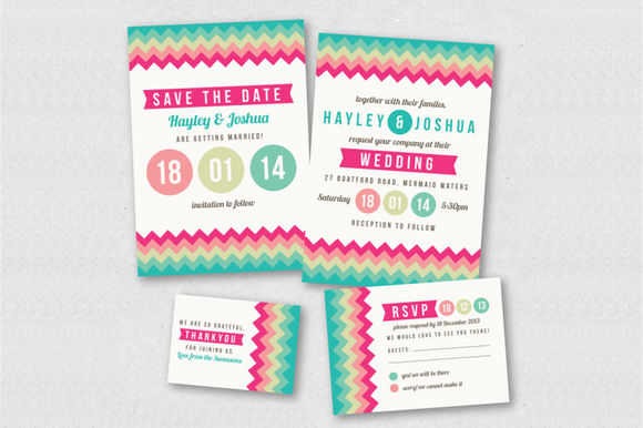 Colorful Chevron Wedding Invitation by CreativeCouture is available from CreativeMarket for $10.