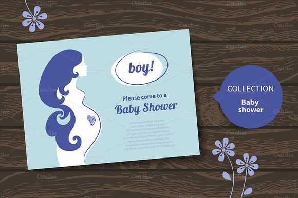 Cute Baby Shower Invitations by ElenaPimonova is available from CreativeMarket for $4.