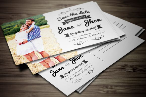 Elegant Wedding Invitation Postcard by GraphicBoutique is available from CreativeMarket for $5.