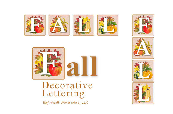 FALL Decorative Lettering by SaylorWolfWatercolors is available from CreativeMarket for $5.