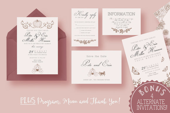 Fairy Tale Wedding Suite by KnottedDesign is available from CreativeMarket for $20.