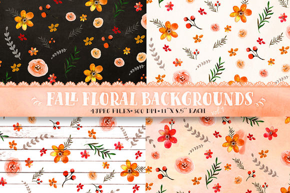 Fall Floral Backgrounds Vol by DigitalCloud is available from CreativeMarket for $5.