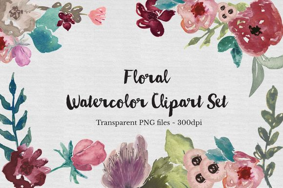 Floral Watercolor Clipart Set by TheAutumnRabbit is available from CreativeMarket for $15.
