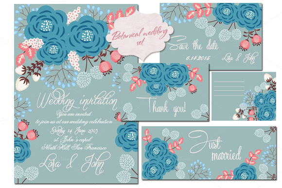 Floral Wedding Set by Abooza is available from CreativeMarket for $7.