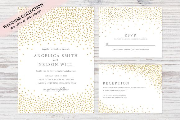 Gold Confetti Wedding Invitation Set by Pixejoo is available from CreativeMarket for $13.