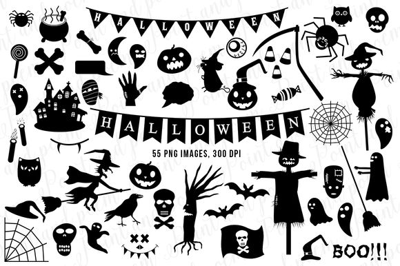 Halloween Clip Art Black Silhouette by PointandPoem is available from CreativeMarket for $7.