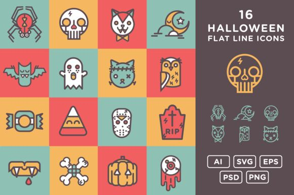 Halloween Flat Line Icons by RexStudios is available from CreativeMarket for $6.