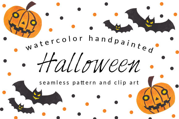 Halloween Pattern And Clip Art Pack by HaidiIllustration is available from CreativeMarket for $4.
