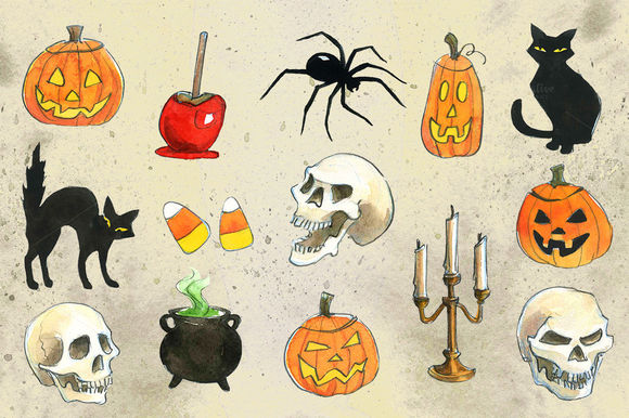 Halloween Watercolor Illustrations by Artbiscuit is available from CreativeMarket for $13.