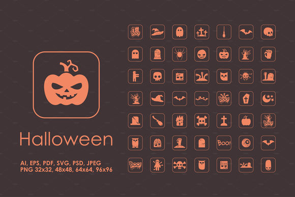 Halloween Simple Icons by Palau is available from CreativeMarket for $5.