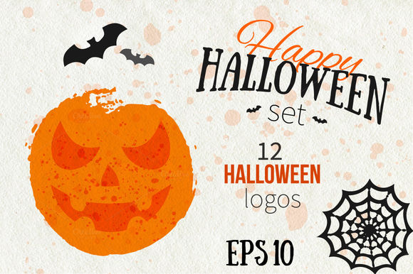 Happy Halloween Logo Set by ToriArt is available from CreativeMarket for $6.