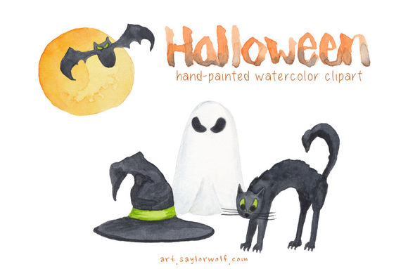 Happy Watercolor Halloween by SaylorWolfWatercolors is available from CreativeMarket for $7.