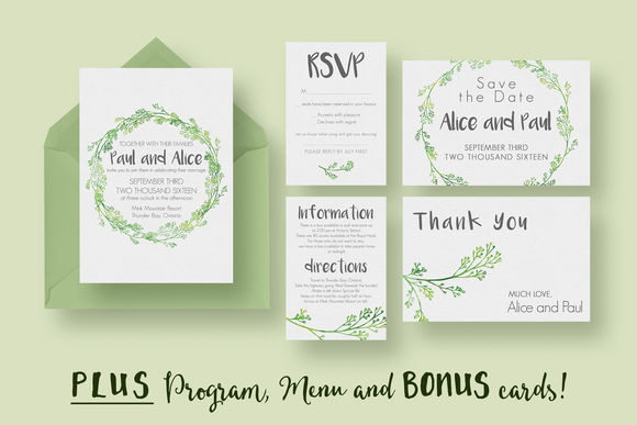 Hip Wedding Invitation Suite by KnottedDesign is available from CreativeMarket for $20.