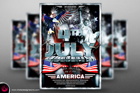 Independence Day Flyer Template by ThatsDesign is available from CreativeMarket for $9.