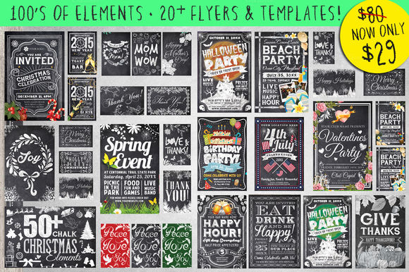 Mega Chalk Holiday Occasions Bundle by LucionCreative is available from CreativeMarket for $29.