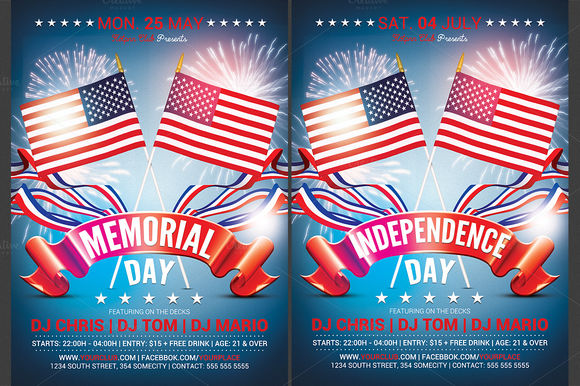 Memorial And Independence Day Flyer by Hotpin is available from CreativeMarket for $6.