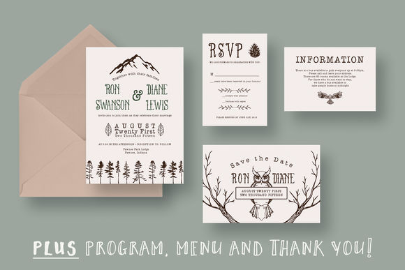Outdoor Adventurer Wedding Suite by KnottedDesign is available from CreativeMarket for $20.