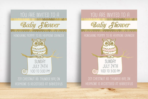 Owl Baby Shower Invitation by KnottedDesign is available from CreativeMarket for $8.