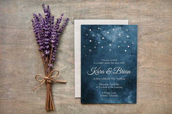Painted Starry Night Wedding Invites by AdrianPelletier is available from CreativeMarket for $10.