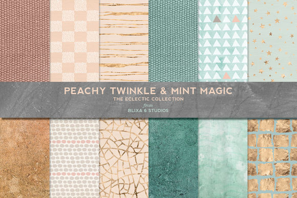 Peachy Mint Gold And Textured Patterns by Blixa6Studios is available from CreativeMarket for $8.
