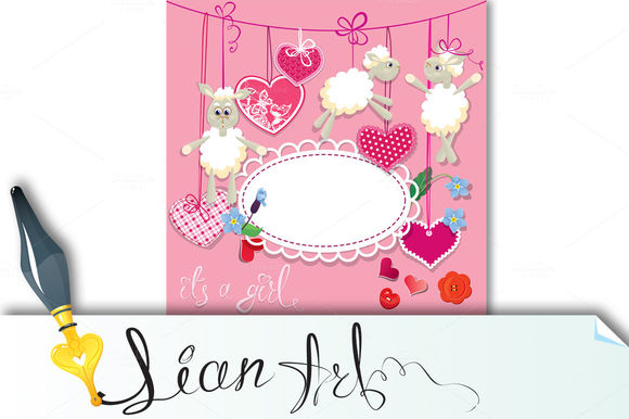 Pink Baby Shower Card With Sheep by Lian-art is available from CreativeMarket for $4.