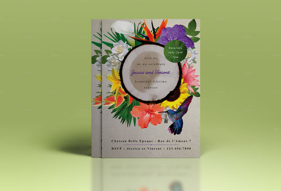 Premium Exotic Flower Wedding Invite by TheWeddingShop is available from CreativeMarket for $7.