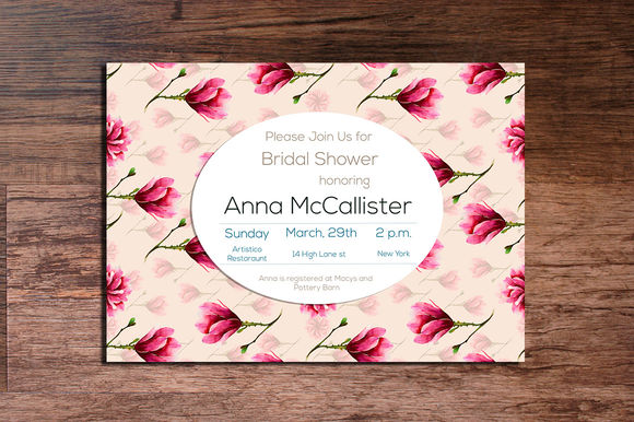 Printable Magnolia Invitation X by Interints is available from CreativeMarket for $15.