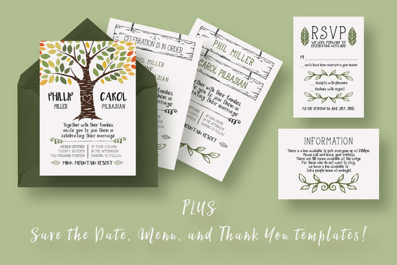 Rustic Tree Wedding Suite by KnottedDesign is available from CreativeMarket for $18.