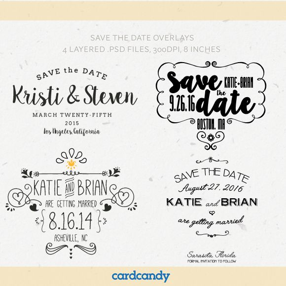 Save The Date Card Overlay Templates by Cardcandy is available from CreativeMarket for $12.