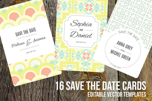 Save The Date Editable Cards by FaveteArt is available from CreativeMarket for $15.