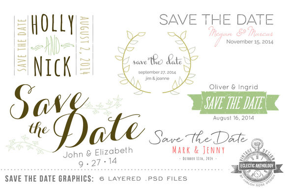 Save The Date Overlay Graphics by EclecticAnthology is available from CreativeMarket for $5.